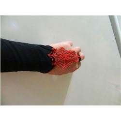 GLOVES - NEW LADIES SPIDERWEB GLOVES - FINGERLESS - BLACK WITH RED - ONE SIZE