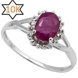 **** FEATURE ITEM **** RING - 1 CARAT RUBY & DIAMOND IN 10KT SOLID WHITE GOLD - INCLUDES CERTIFICATE