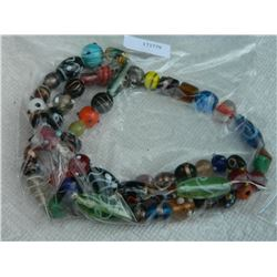"NECKLACE - COLORFULL GLASS BEEDS & OTHER - 30"" LONG"