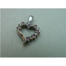 **** FEATURE ESTATE ITEM ****  PENDANT - 10K WHITE GOLD HEART DESIGNED PENDANT - INCLUDES 6 DIAMONDS