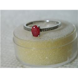 RING - SOLITARE OVAL FACETTED RUBY WITH 2 SHOULDER DIAMONDS IN STERLING SILVER SETTING - SZ 8 - RETA