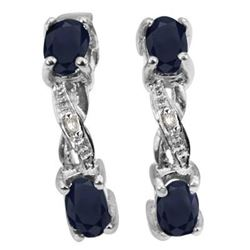 ***NEW*** EARRINGS - CHARMING 1 CARAT SAPPHIRE & DIAMONDS IN 925 STERLING SILVER SETTING - INCLUDES