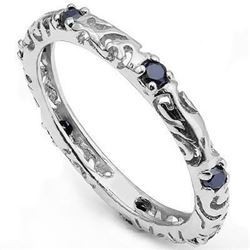***NEW*** RING - BEAUTIFUL 1/3 CT SAPPHIRE IN 925 STERLING SILVER SETTING - SIZE 7 - RETAIL ESTIMATE