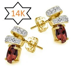 **** FEATURE ITEM **** - EARRINGS - 4/5 CT GARNET & DIAMOND IN 14KT SOLID YELLOW GOLD - INCLUDES CER