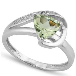 *RING - 1 CARAT GREEN AMETHYST & 2 GENUINE DIAMONDS IN 925 STERLING SILVER SETTING - SZ 8 - INCLUDES
