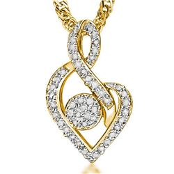 **** FEATURE ITEM **** PENDANT -1/4CT DIAMOND(47) IN 18K YELLOW GOLD OVER STERLING SILVER - INCLUDES
