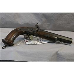 """Antique Unknown .69 Perc Pistol w/ 6 1/2"""" octagon rifled bbl [ blued finish patchy with some pitting"""