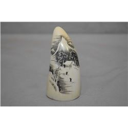 """Scrimshaw Ivory Whalestooth approx. 3 1/2"""" Ht. with carving of Cabin in the mountain scene with two"""