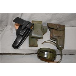 Box Lot : Two Green Toned Leather Holsters w/ straps for Semi Auto Pistol - One Black Leather Holste