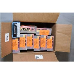 Box Lot of Ammo : Seven Boxes ( 20 rnds per ) HSM .45 - 70 Cal 430 Gr Bear Load RNFP - One Box ( 18
