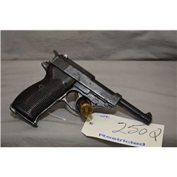 Restricted Walther ( cyq ? ) Model P 38 .9 MM Luger Cal 8 Shot Semi Auto Pistol w/ 125 mm bbl [ fadi