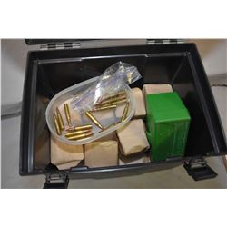 Black Plastic Ammo Box : Approx. 26 Paper Pkgs of .223 Cal Ammo - Plus 50 Rnds .223 Cal Ammo in gree
