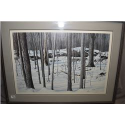 Lot of Three Framed Pictures : Large Framed Print [ Bull Elk with three cows in mountain scene ] - F
