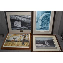 """Lot of Four Framed Pictures : Limited Edition Print No. 7/ 300 """"Feline Sanctuary """"by Alex Halliburto"""