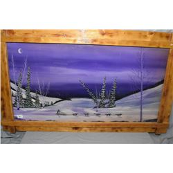 Pine Style Framed Picture of Dog Sled & Team with Artist Ray.F / 97