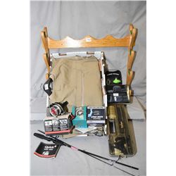Lot of Two Items : Large Tray Lot & Oak Wall Mounting Rifle Rack : Men's XX Large Fleece Shooting Ve