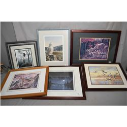 "Lot of Six Framed Pictures : Limited Edition Print # 1013/ 4950 by Paul Larrabee "" A Cougar's Kingdo"