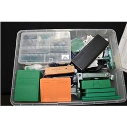 Large Plastic Container : Reloading Equipment Including : RCBS Press - Five Sets Various Dies - Bull