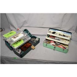 Lot of Three Items : Two Green Tackle Boxes - Plus Bundle of Various Rods, with four reels -