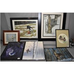 Lot of Eight Framed Pictures : Print [ Old Hunting Blind ] - Print [ Hound in Field ] - Print [ Whit