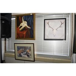 Lot of Three Framed Pictures : Painting Style Picture [ Buffalo Skull ] - Painting Style [ European