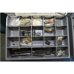 Two metal divided drawers containing assorted rifle sights