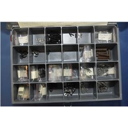 Metal divided drawer containing assorted Ruger Mini 14 new gun parts and a selection of new in packa