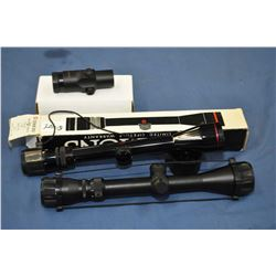 Selection of optics including Burris AR-tripler No. 300213, appears new in box, a Simmons Deerfield,