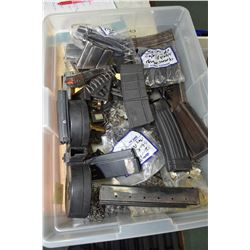 Large selection of magazine and magazine parts including AR, 9mm double drum mag., Walthier P22, ass