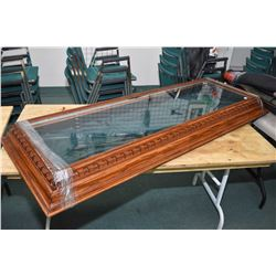 """Custom made metal, oak and glass display case, glass dimension is 60 1/2"""" X 59"""", custom made with me"""