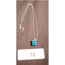 "Sterling & Aquamarine Pendant w/ 18"" Sterling Chain"