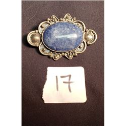 Mexican Silver Brooch w/ Blue Oval Sodalite Stone