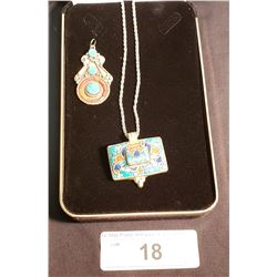 "2 Mexican Silver Pendants w/ Lapis, Turquoise & Coral & 1 - .925 Sterling Chain Approx. 22"" long"