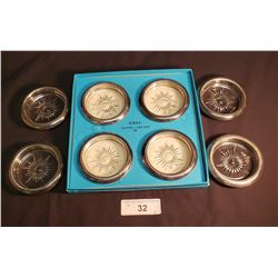 Italian Coaster Ashtray, Set of 8 in Box, Electroplated (In Birks Box)