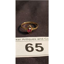 Ruby & Diamond Ring, Illegible Karat Stamp