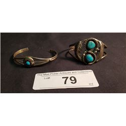 2 Mexican Sterling & Turquoise Bracelets