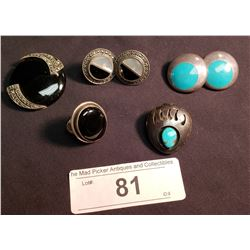 Mexican Sterling Bolo, Pendant, Ring & 2 Pairs of Earrings w/ Turquoise & Black Stone