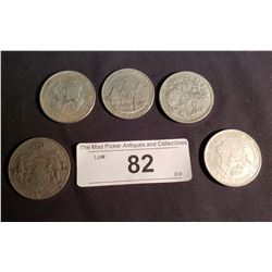 5 Silver Coins 1894 Russian, 1863, 1893, 1894 German