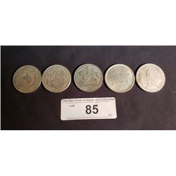 5 Silver Foreign Coins 1837, 39, 93, 67, 72