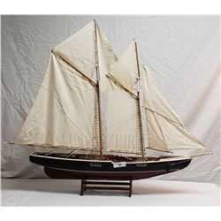 Model Bluenose Sail Ship on Stand w/ Linen Sails