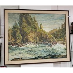 Large Oil Painting of River & Forest