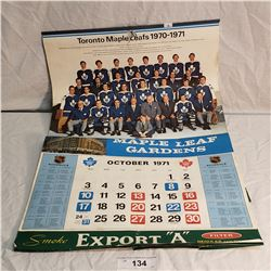 1971 Toronto Maple Leafs Calendar Exports Cigarettes Advertising