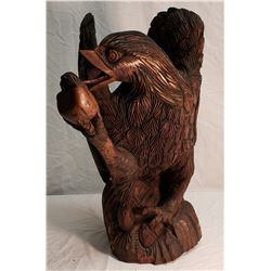 Carved Wooden Eagle Holding Hatching Egg in Talons