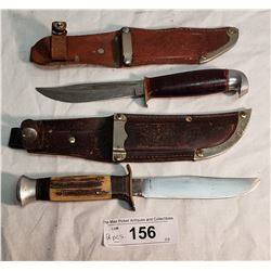 3 Swedish Hunting Knives in Sheaths