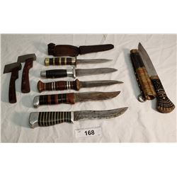 5 USA WW2 Knives, 1 Exotic Knife, 2 Small Hatchets