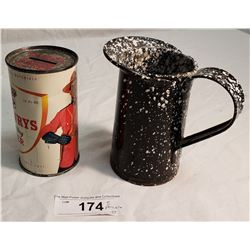Drewerys Beer Can Bank Depicting Mountie, Black & White Graniteware Pitcher
