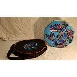 "15"" Hand Painted NWC Native Drum in Carrying Case"