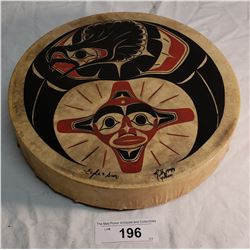 """Hand Painted 10.5"""" Drum by Richard Shorty, 1999, Sun & Eagle"""