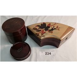 2 Lacquerware Asian Boxes, 1 Curve Lockable, 1 Round w/ 6 Coasters