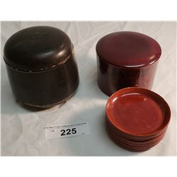 2 Lacquerware Asian Boxes, 1 w/ 12 Coasters
